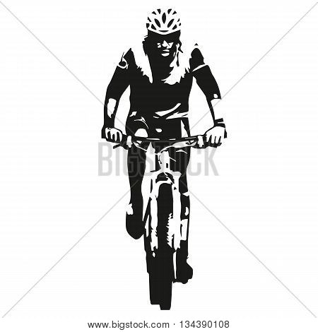 Mountain biker abstract vector bicycle rider silhouette