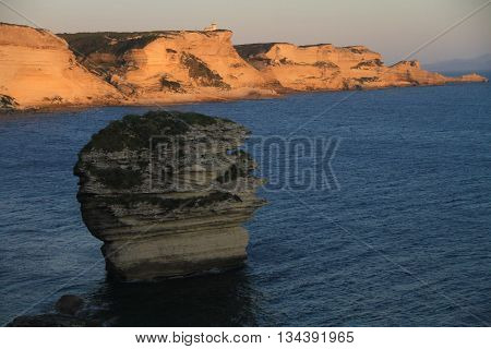CLIFFS OF OF BONIFACIO AT SUNSET , SOUTHERN CORSICA