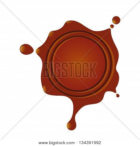 burgundy wax seal with drops on each side on a white background