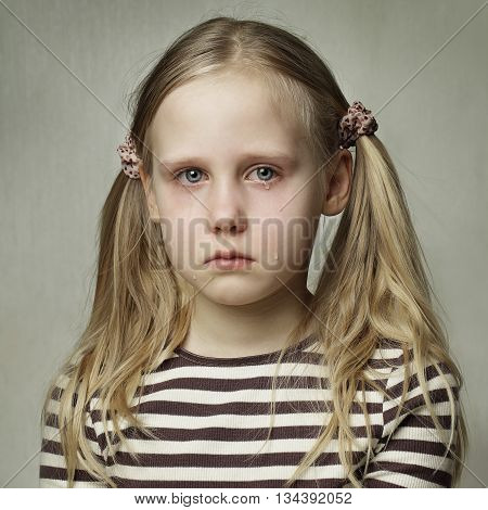 Child with tears - young girl crying fine art portrait