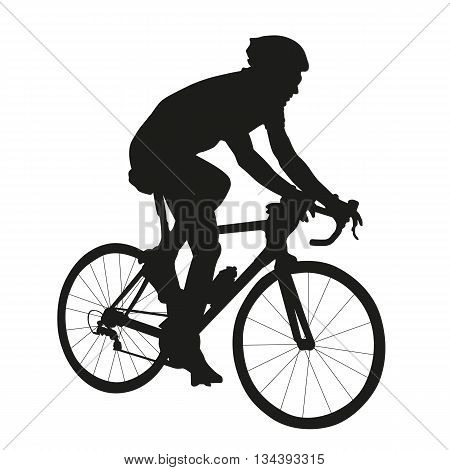 Cycling silhouette vector isolated silhouette of road cyclist