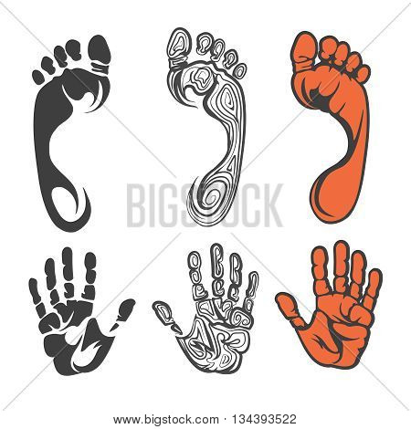 Vector black red and linear foot print and hand print silhouettes