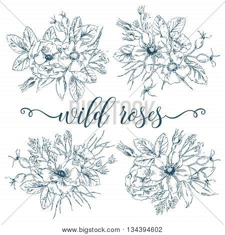 Vector vintage graphic collection of wild rose bouquets. Decorative floral isolated elements. Hand drawn ink flowers posy set for invitation, greeting, Save the Date, birthday card.