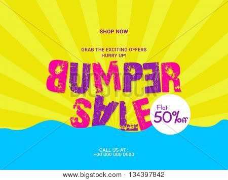 Creative Text Bumper Sale on rays background, Sale Poster, Sale Banner, Sale Flyer, Flat 50% Off, Vector illustration.