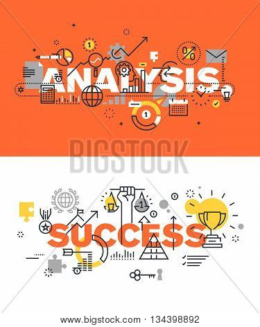 Set of modern vector illustration concepts of words analysis and success. Thin line flat design banners for website and mobile website, easy to use and highly customizable.