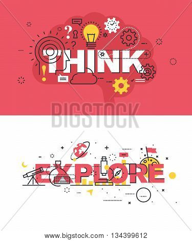 Set of modern vector illustration concepts of words think and explore. Thin line flat design banners for website and mobile website, easy to use and highly customizable.