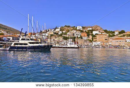 landscape of the port of Hydra island Saronic gulf Greece