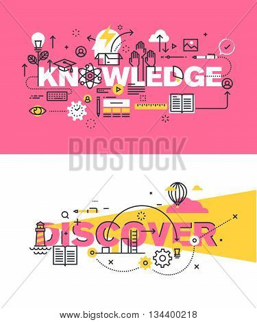 Set of modern vector illustration concepts of words knowledge and discover. Thin line flat design banners for website and mobile website, easy to use and highly customizable.