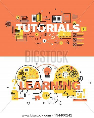 Set of modern vector illustration concepts of words tutorials and learning. Thin line flat design banners for website and mobile website, easy to use and highly customizable.