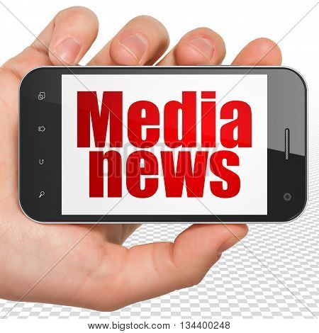 News concept: Hand Holding Smartphone with red text Media News on display, 3D rendering