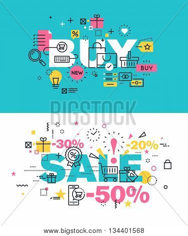 Set of modern vector illustration concepts of words buy and sale. Thin line flat design banners for website and mobile website, easy to use and highly customizable.