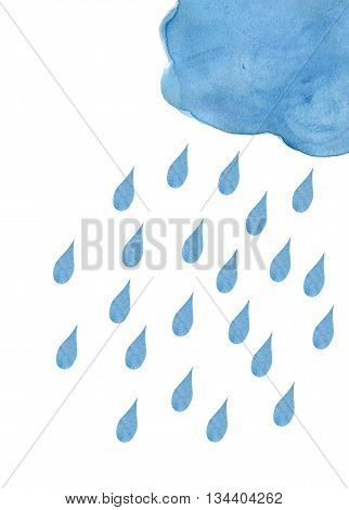 Watercolor cloud and rain drops. Watercolor cloud and rain drops. Watercolor cloud and rain drops. Rain (nimbus) cloud precipitation with rain drops. Watercolor background.  Watercolor frame. Hand drawing