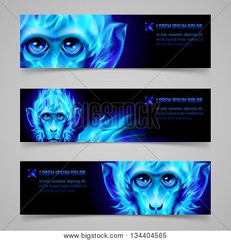 Set of banners with Monkey head in blue flame