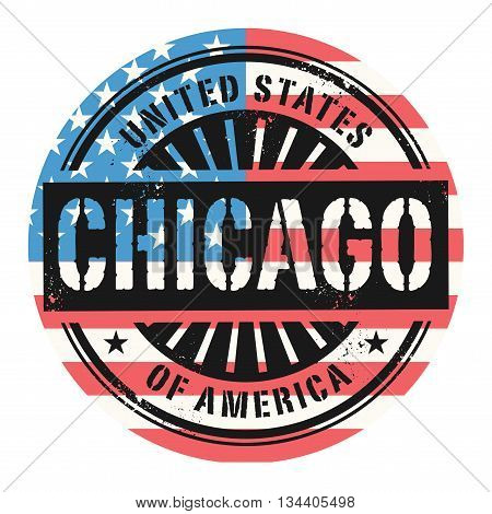 Grunge rubber stamp with the text United States of America, Chicago, vector illustration