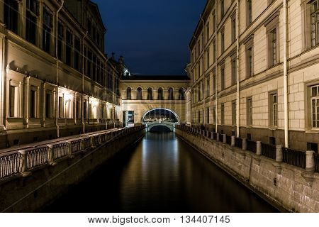 Nightview Of Winter Canal