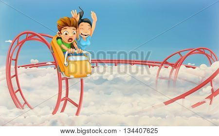 Roller coaster in the clouds, vector background