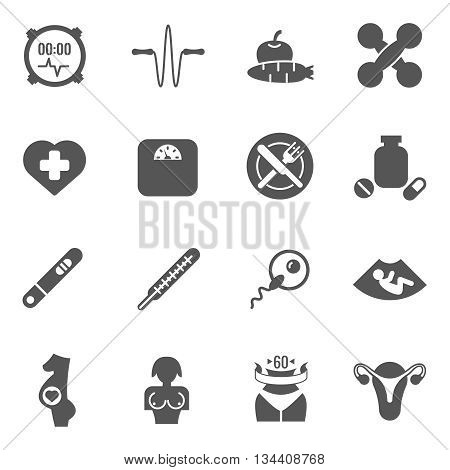 Women health care vector black icons. Care woman health, health woman, fitness and reproduction woman illustration