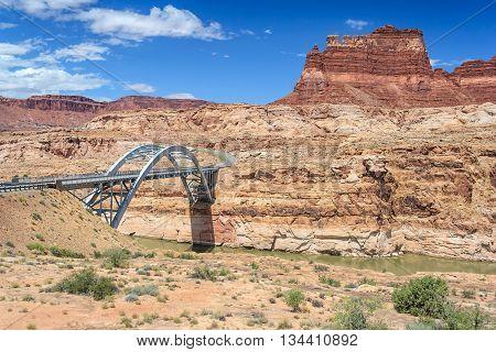 Hite Crossing Bridge Across Colorado River In Glen Canyon National Recreation  Area