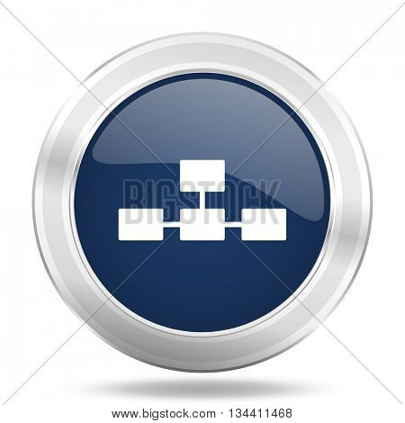 database icon, dark blue round metallic internet button, web and mobile app illustration