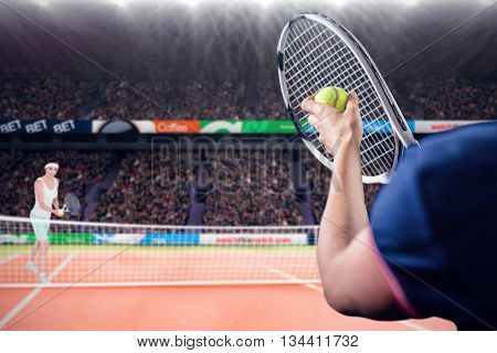 Tennis player holding a racquet ready to serve against composite image of tennis woman playing on court