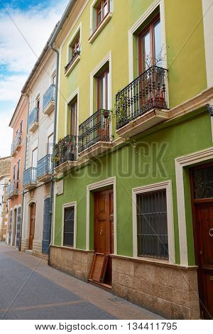Denia street Loreto facades in Alicante at Mediterranean spain