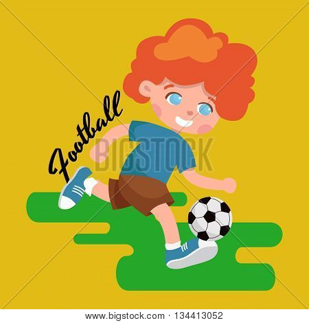 Full length portrait of a child in sportswear joggling ball isolated on white background vector illustration