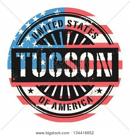 Grunge rubber stamp with the text United States of America, Tuscon, vector illustration