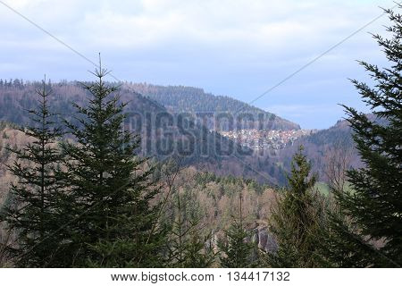 Outlook To The Town Of Bernbach, Black Forest, Baden-wurttemberg, Germany