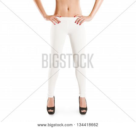 Woman wear blank white leggings mockup, isolated. Women in clear leggins template. Cloth pants design presentation. Sport pantaloons stretch tights model wearing. Slim legs stand in high heels shoes.