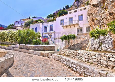 HYDRA ISLAND GREECE, MAY 16 2016: traditional houses and road without cars at Hydra island Saronic Gulf Greece. Editorial use.