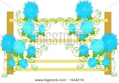 Blueflowersonfence.Eps