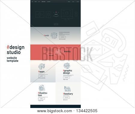 Design studio website flat contemporary template - website layout on design with topic blocks of graphic design, web design, identity, illustration, application development, company profile, bestiary
