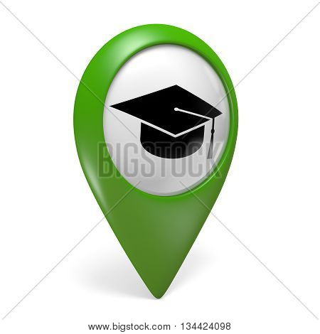 Green map pointer icon with a grad cap symbol for colleges and universities, 3D rendering