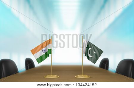 India and Pakistan relations and trade deal talks, 3D rendering