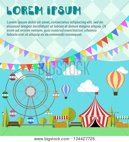 Amusement park ferris wheel festival carnival balloon. Tent on the market. Farm products lemonade lemons in wooden box. Flat illustration vector. Concept for invitations cards. Flags outdoor