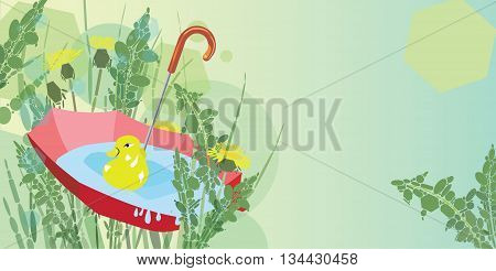 Red umbrella with rain water duck toy and dandelions composition with copy space