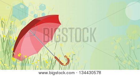 Red umbrella and dandelions composition with copy space