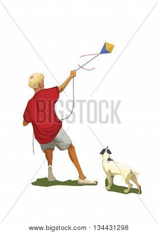 Vector illustration of a boy with kite and small dog watching