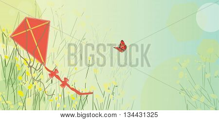 Vector illustration of red kite in a meadow