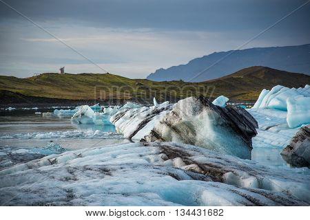 Iceberg in Jokulsarlon glacier lagoon in Iceland. Icebergs originating from the Vatnajokull the biggest glacier in Europe