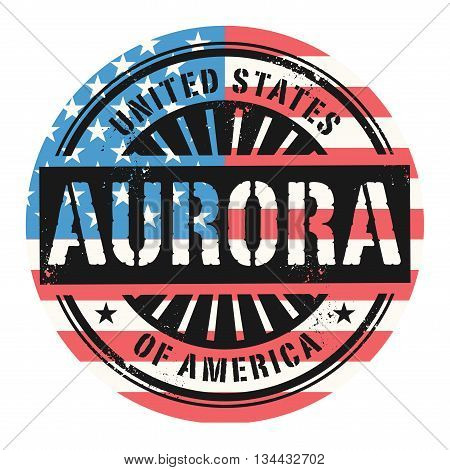 Grunge rubber stamp with the text United States of America, Aurora, vector illustration