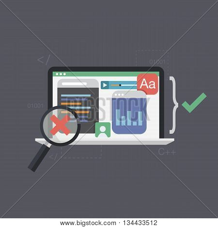 Software testing ,programming code vector illustration. Being software tested. Flat design.