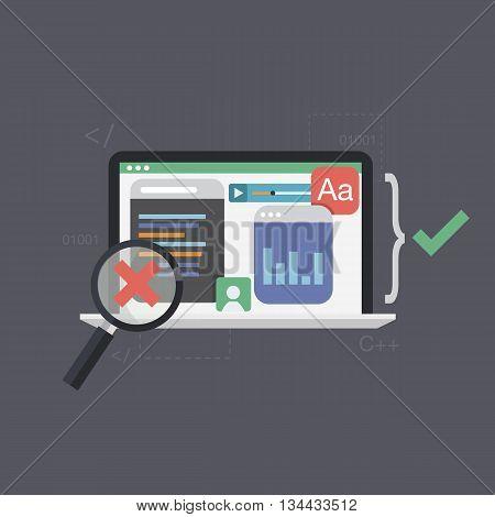 Software testing ,programming code vector illustration. Being software tested. Flat design.