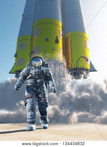 Astronaut runs on the background of a space rocket.,3d render