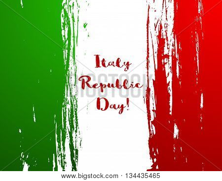 Illustration of the flag of Italy. Vector illustration. National flag. Illustration Day of Proclamation of the Republic of Italy. The flag has a green white red