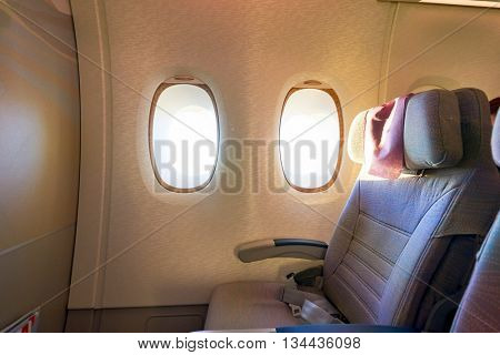 HONG KONG - MARCH 08, 2016: inside of Emirates Airbus A380. The Airbus A380 is a double-deck, wide-body, four-engine jet airliner manufactured by Airbus. It is the world's largest passenger airliner.