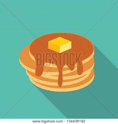 Breakfast Sweet Pancake Icon in Modern Flat Style Vector Illustration EPS10