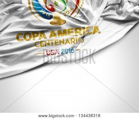 SAO PAULO, BRAZIL - CIRCA MAY 2016: Copa America 2016 flag
