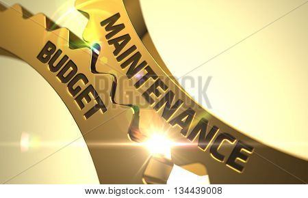 Maintenance Budget - Industrial Design. Maintenance Budget Golden Cogwheels. Maintenance Budget - Illustration with Lens Flare. Golden Metallic Cog Gears with Maintenance Budget Concept. 3D Render.
