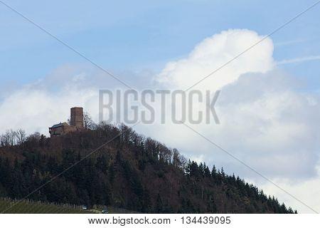 Far View On Castle Ruin Yburg Near Baden-baden, Baden-wurttemberg, Germany